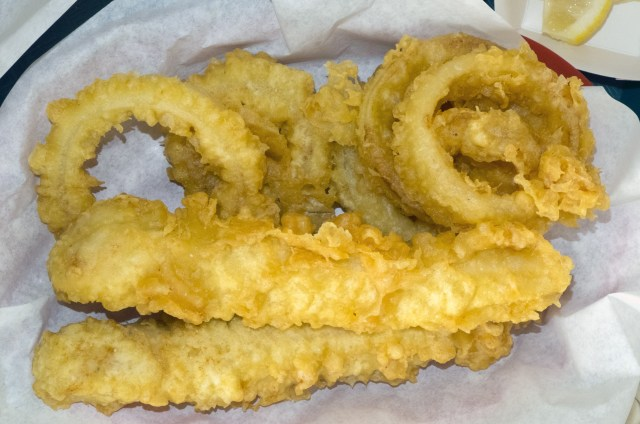 Fried cod and onion rings.