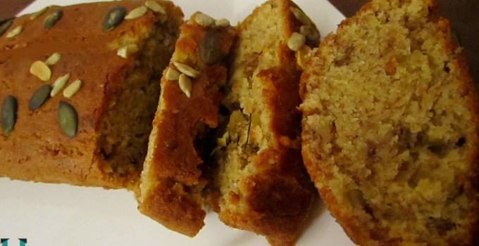 Eggless whole wheat  banana walnut bread