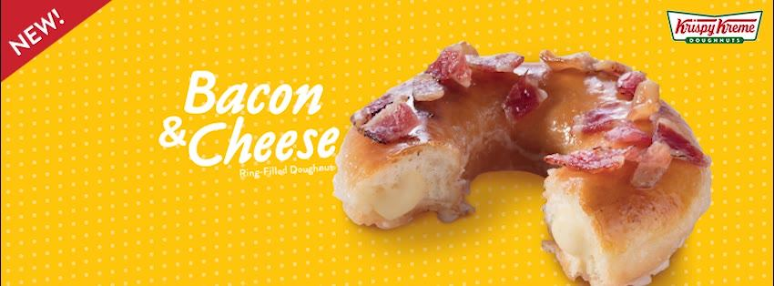 Krispy Kreme's Bacon and Cheese-Filled Ring Doughnut Banner