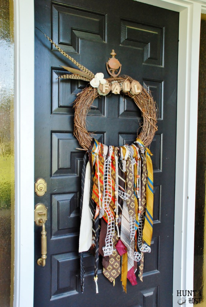 vintage necktie fall wreath