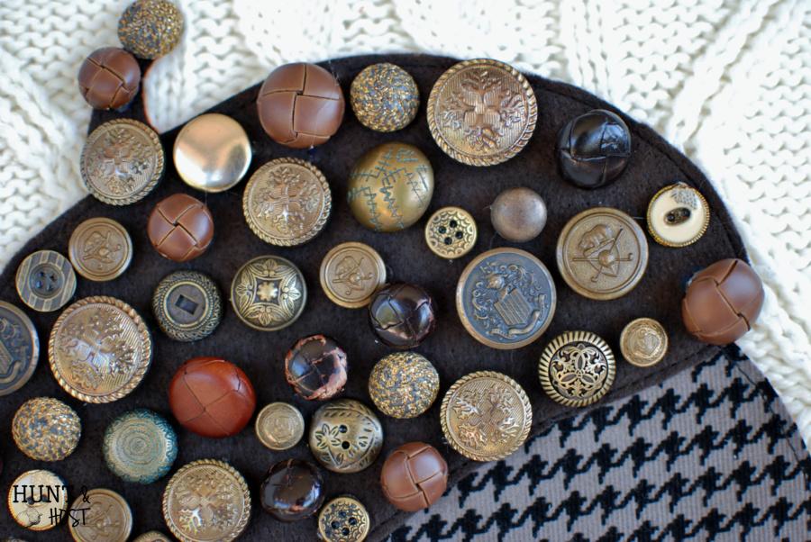 vintage button acorn sweater pillow