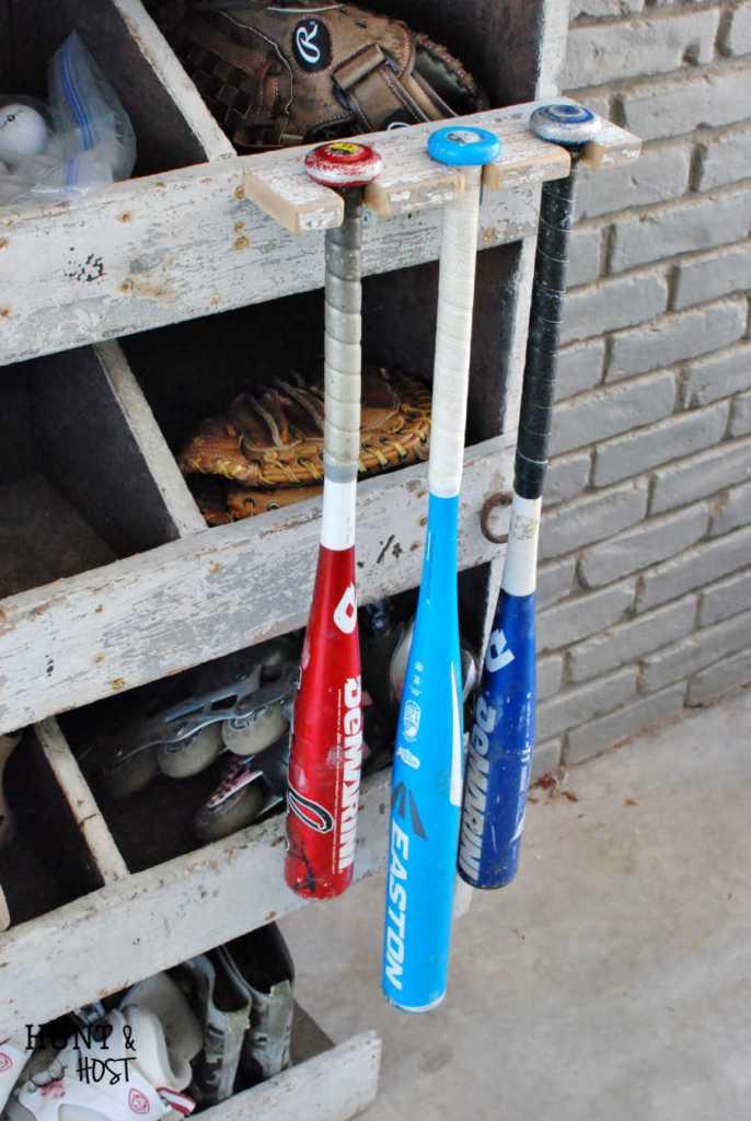 DIY Baseball Bat Rack Storage Solution - Hunt and Host