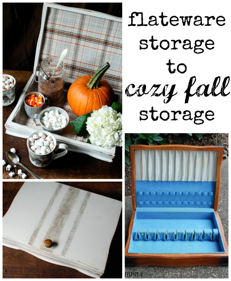 An old school flatware storage box gets a cozy makeover for Fall. Now it's the perfect hot chocolate station!