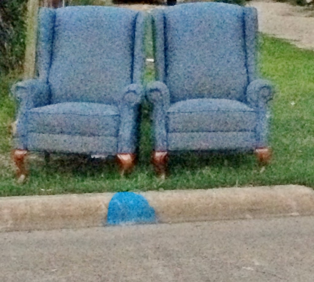 These curbside chairs got a fresh makeover in a classic plaid.