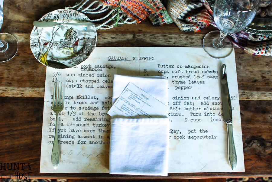 Family Heirloom Recipe Placemates Thanksgiving Table