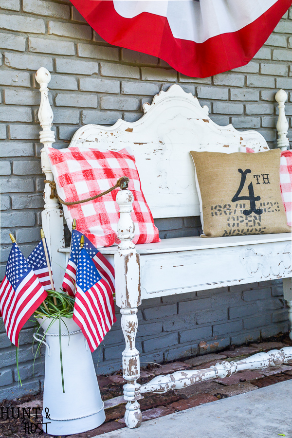 Paint your own buffalo check fabric for the cutest DIY pillows ever. Easy 4th of July décor ideas.