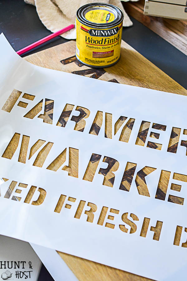 This is not your average stencil project! Try something besides paint! This branded stencil looks like an old time brand. DIY branded farmhousetray.