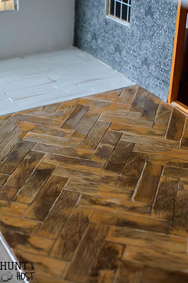 Diy Herringbone Wood Floors And Fabric Wallpaper Dollhouse