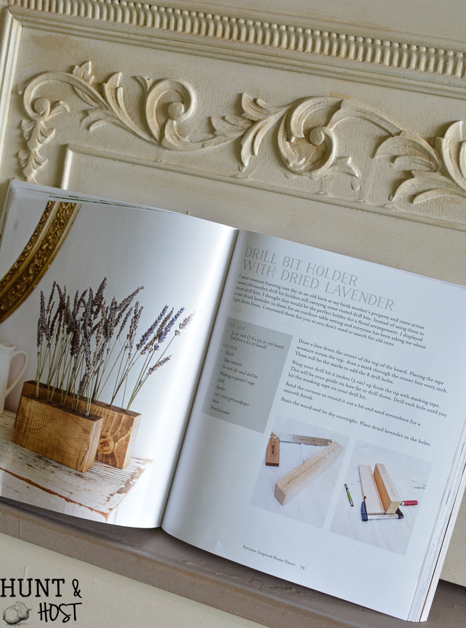 French Vintage Décor Book Review, plus an  easy drill bit holder for flowers. Project ideas from France await!