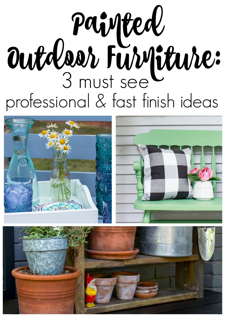 How to make a sleek potting table. This potting bench, painted black is a departure from the chippy white farmhouse look. Plus three must see ideas for professional and fast painted outdoor furniture with Wagner paint sprayers.