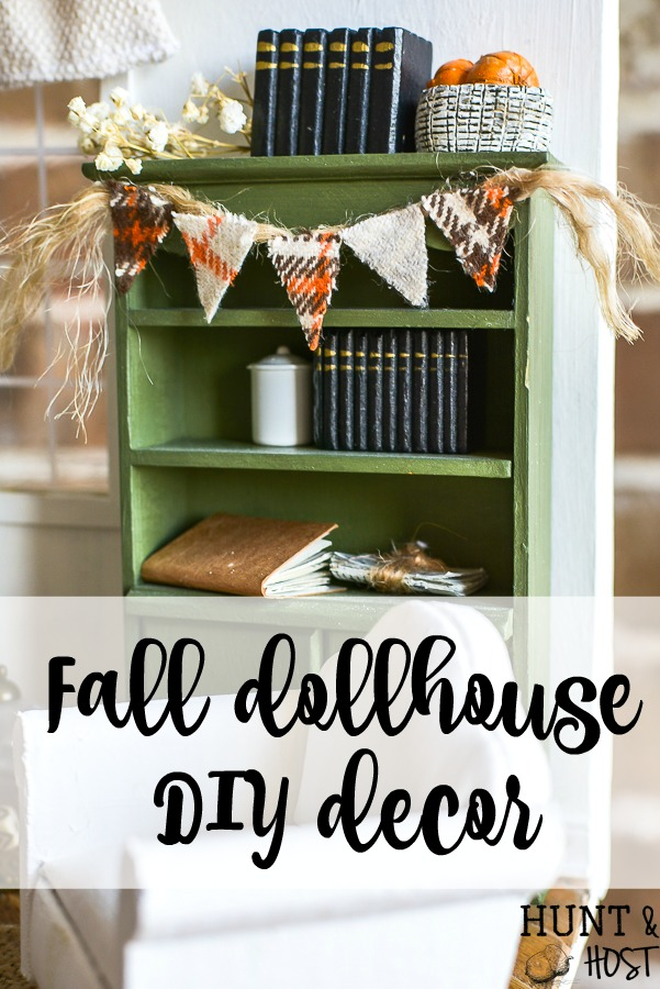 Dress your dollhouse for fall with this cute fall dollhouse decorations and DIY ideas. Halloween in the dollhouse is so easy and fun to create! #dollhouse #miniatures #falldecor #bunting #dollhouseDIY #minitureDIY