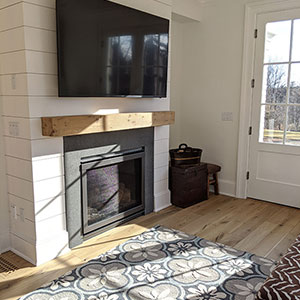 Fireplace with hardwood mantle piece