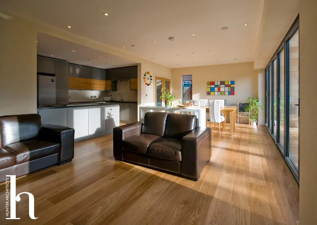light bright family room with large bi fold doors interior design in altrincham cheshire - Home Self Design