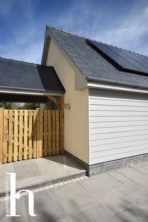 PV Photovoltaic panels on detached garage