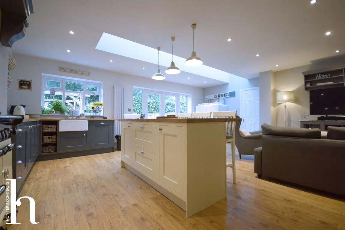 Family Room with contemporary kitchen in Timperley Cheshire