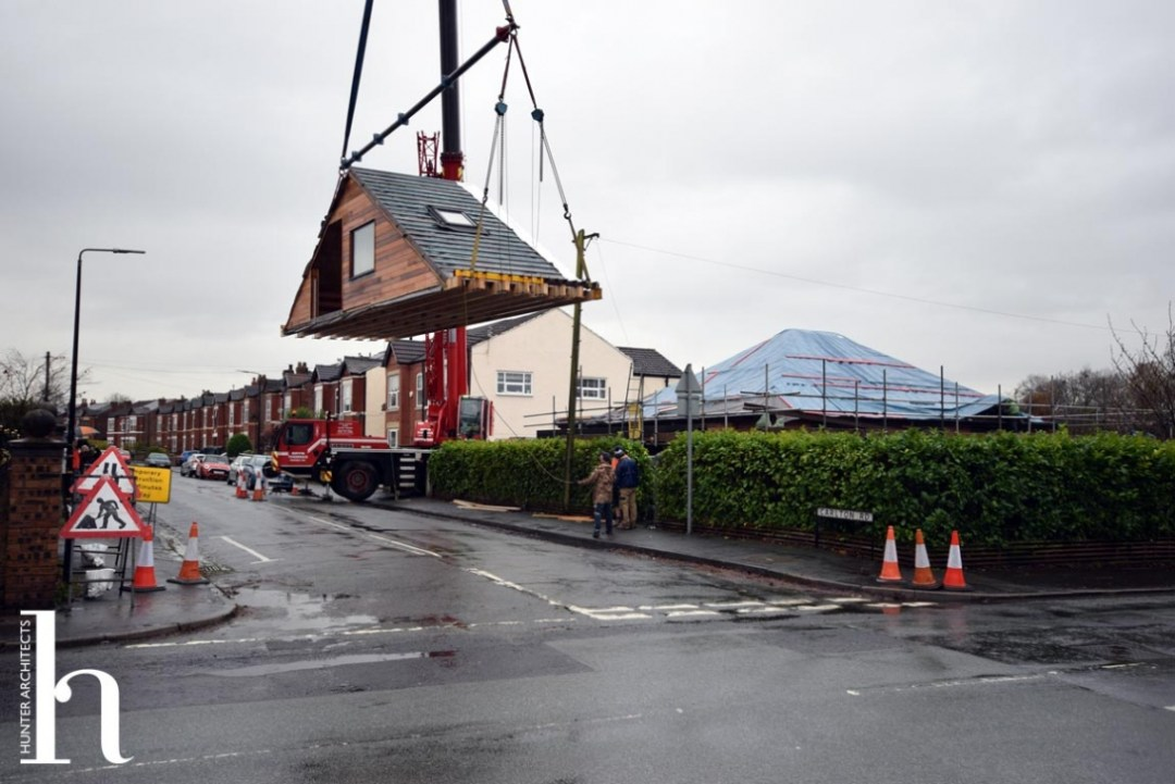 Cheshire bungalow conversion modular loft being lifted into place