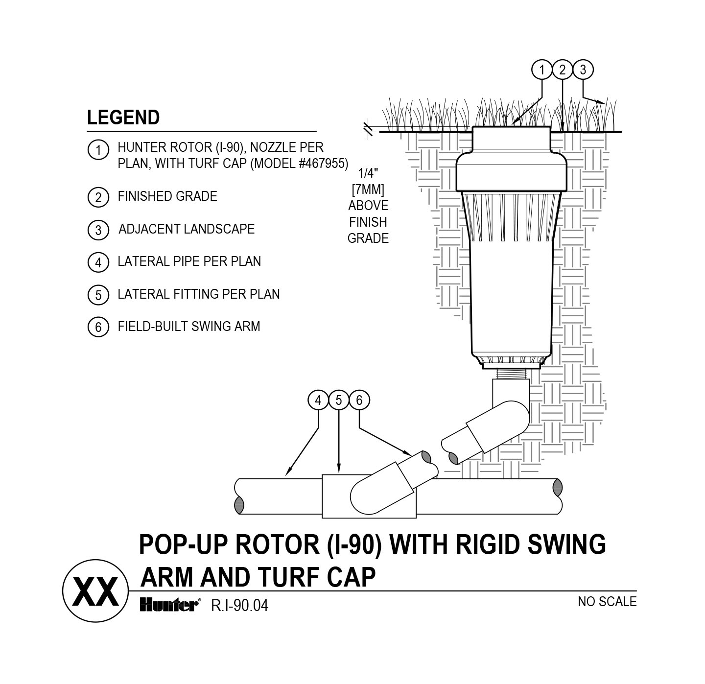 hight resolution of cad i 90 with swing arm and turf cup