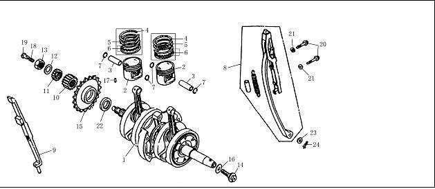 Crankshaft Pistons and Rods : Oil seal(22×31×5) (Part 22)