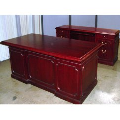 Folding Chair Liquidation Parsons Slipcover Dallas Office Furniture   Cherry Traditional Executive Desk New & Used