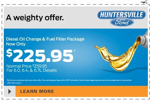 diesel oil change and fuel filter package huntersville ford