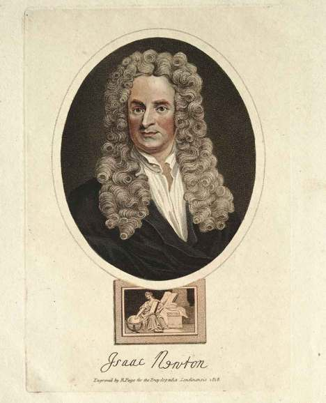 Illustration of Isaac Newton (1643–1727) in Encyclopaedia Londinensis, or Universal dictionary of arts, sciences & literature . . . compiled, digested, and arranged by John Wilkes . . . assisted by eminent scholars, London, Adlard, 1810–29. The Grace K. Babson Collection of the Works of Sir Isaac Newton at The Huntington Library, Art Museum, and Botanical Gardens.