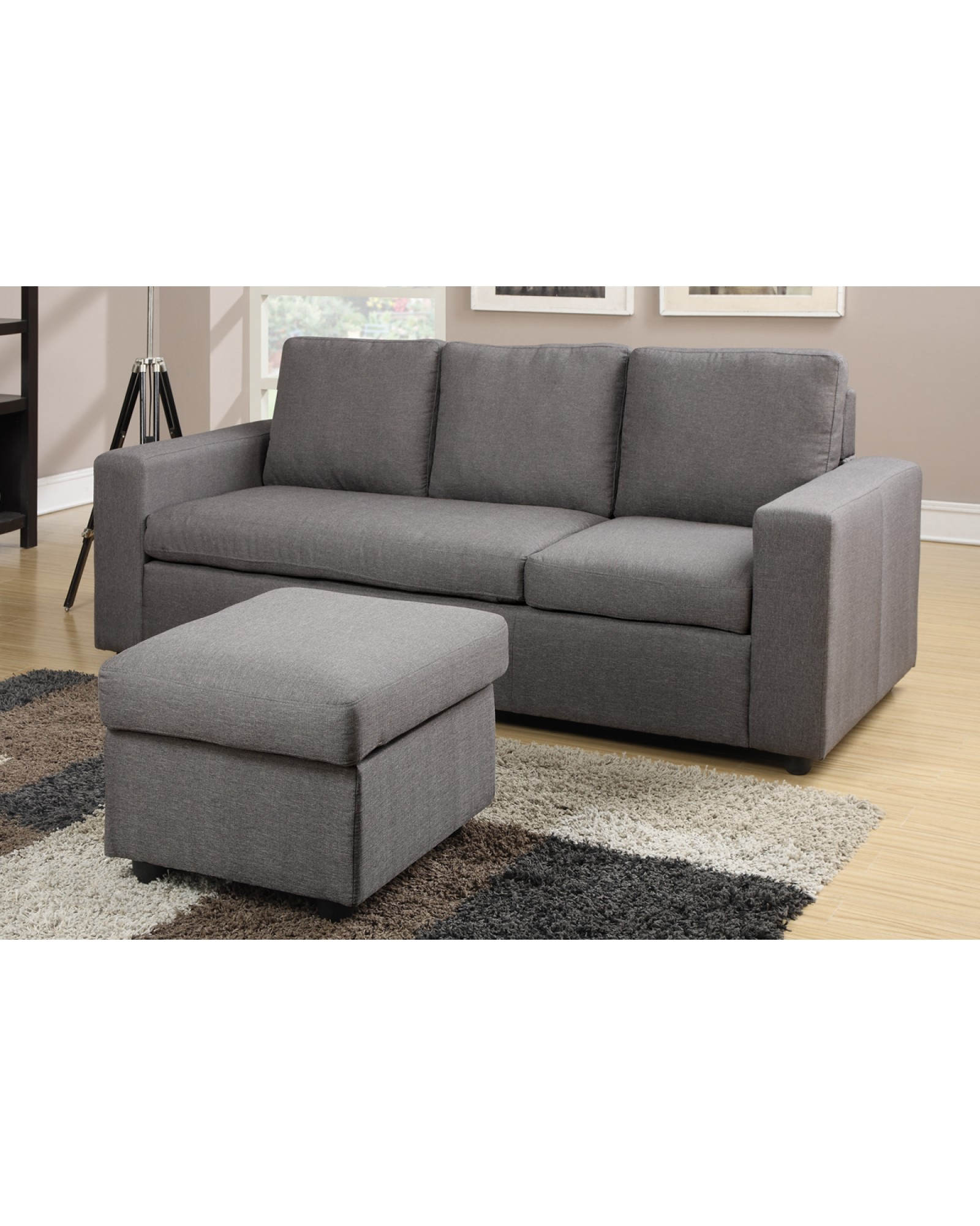 Modern Gray Reversible Linen Style Sectional by Poundex