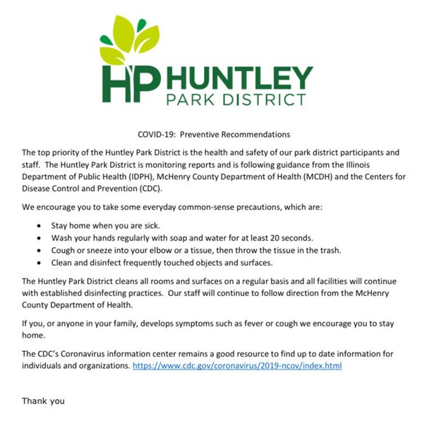 Coronavirus (COVID-19) - General News - News | Huntley Park District
