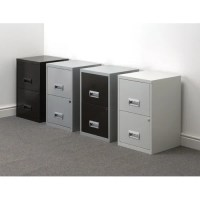 2 Drawer Filing Cabinet Steel Lockable Black A4 Height ...