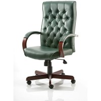 Chesterfield Executive Office Chair Green Leather With ...