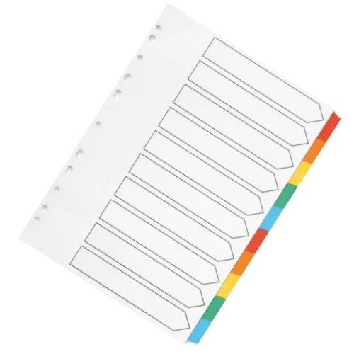 Index A4 Multi-Punched 10-Part Reinforced Multi-Colour