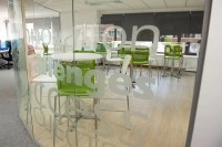 Curved Glass Partitions With Frosted Window Film Design ...