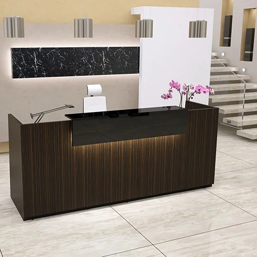 black leather office chair high back lift table libra straight formation reception desk zebrano wild finish counter rd110 - huntoffice.ie