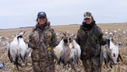 Gabrielle (left) and her friend joins our hunter in the field for a few days of snow goose hunting. She runs the South Dakota lodge, cooks the meals, and loves to hunt snow geese.