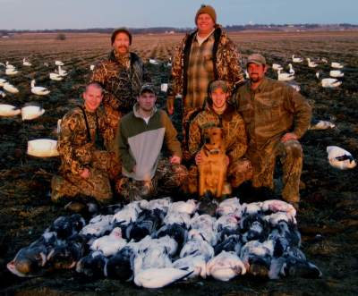 Fathers and sons enjoys a Missouri snow goose hunt.