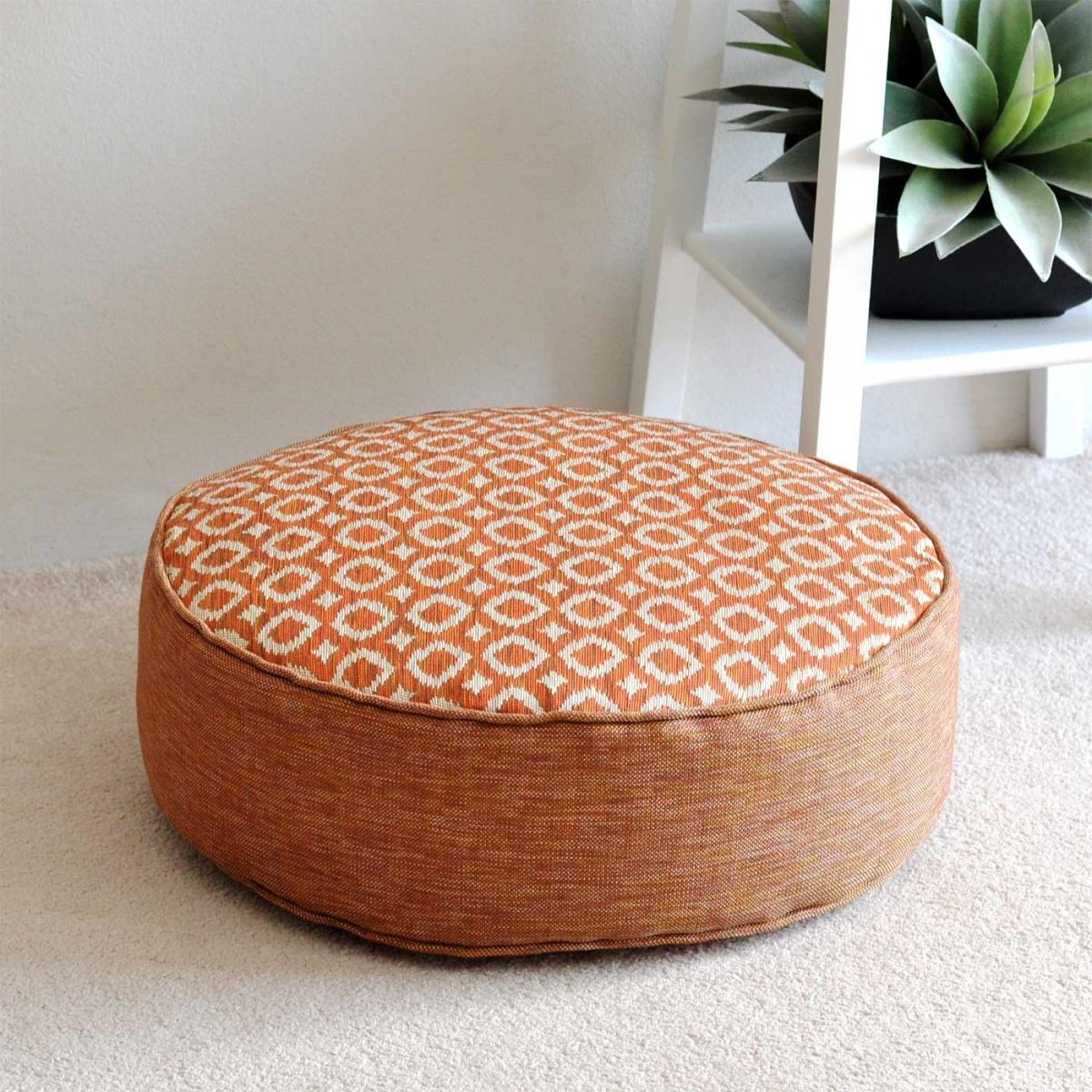 Ayana Tangerine Round Floor Cushion  45cm  Hupper