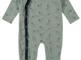 New Born overall allover print with envelope feet soft green AO