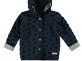 New Born hooded drop needle fabric cardigan navy