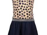 Kids Girls multi dress s/s allover print top and plain skirt + light pink AO