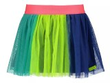 Girls netting skirt with printed color strokes Safety yellow