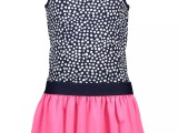 Y005-5841 Girls dress  with dot aop top en uni skirt part dots space blue