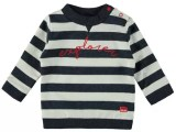 Baby Boys melange block stripe sweater with embroidery EXPLORER stripe navy