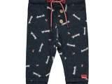 Baby Boys melange block stripe / melange AO sweat trousers with navy melee allover