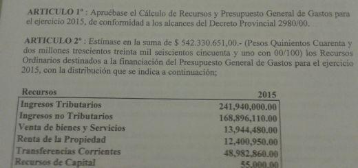 Ordenanza Presupuesto 2015 Municipio Hurlingham