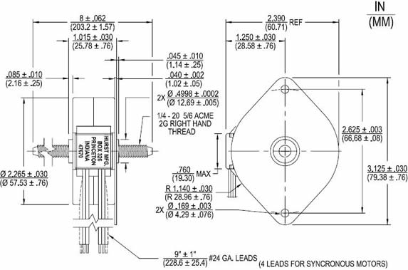 SL, SBL Fixed Speed Linear Actuator Diagrams: