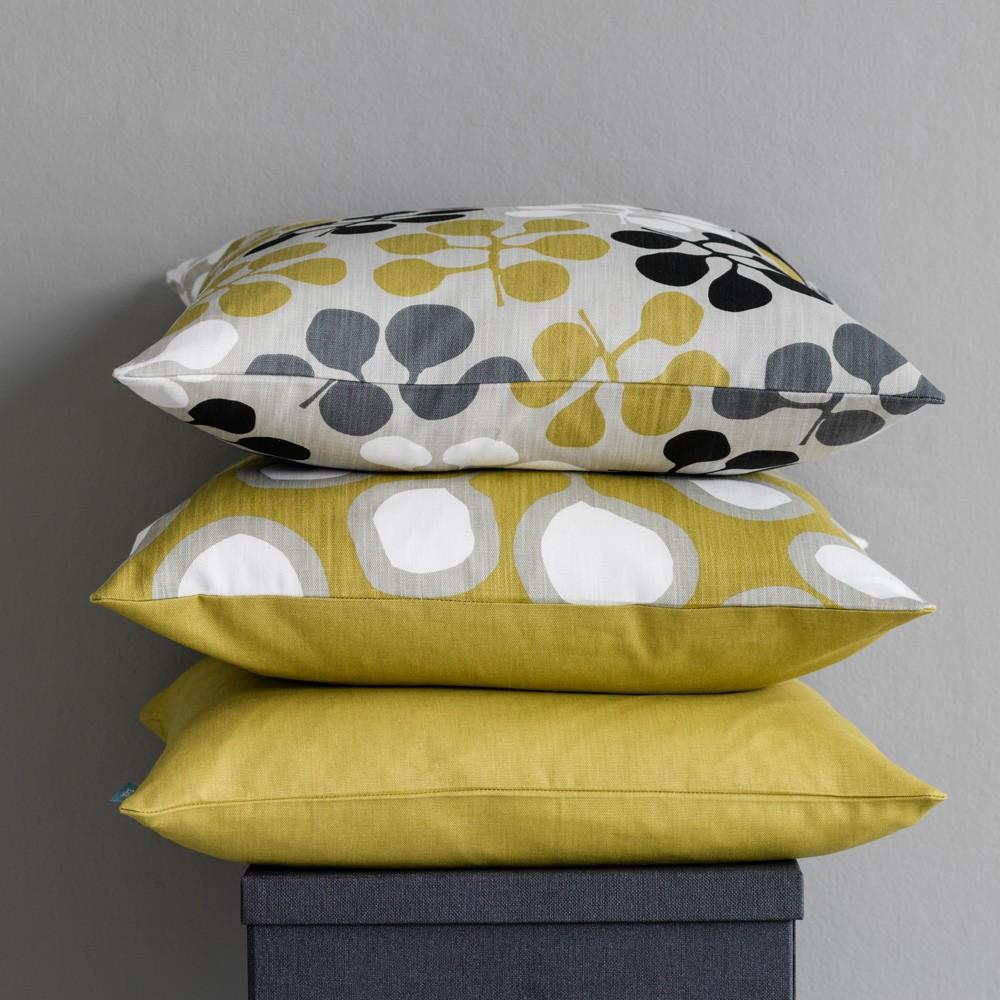 grey fabric sofa next bed with chaise slipcover sedum mustard cushion by spira of sweden   hus & hem