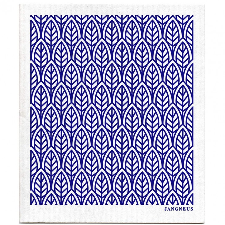 jangneus dishcloth blue leaves