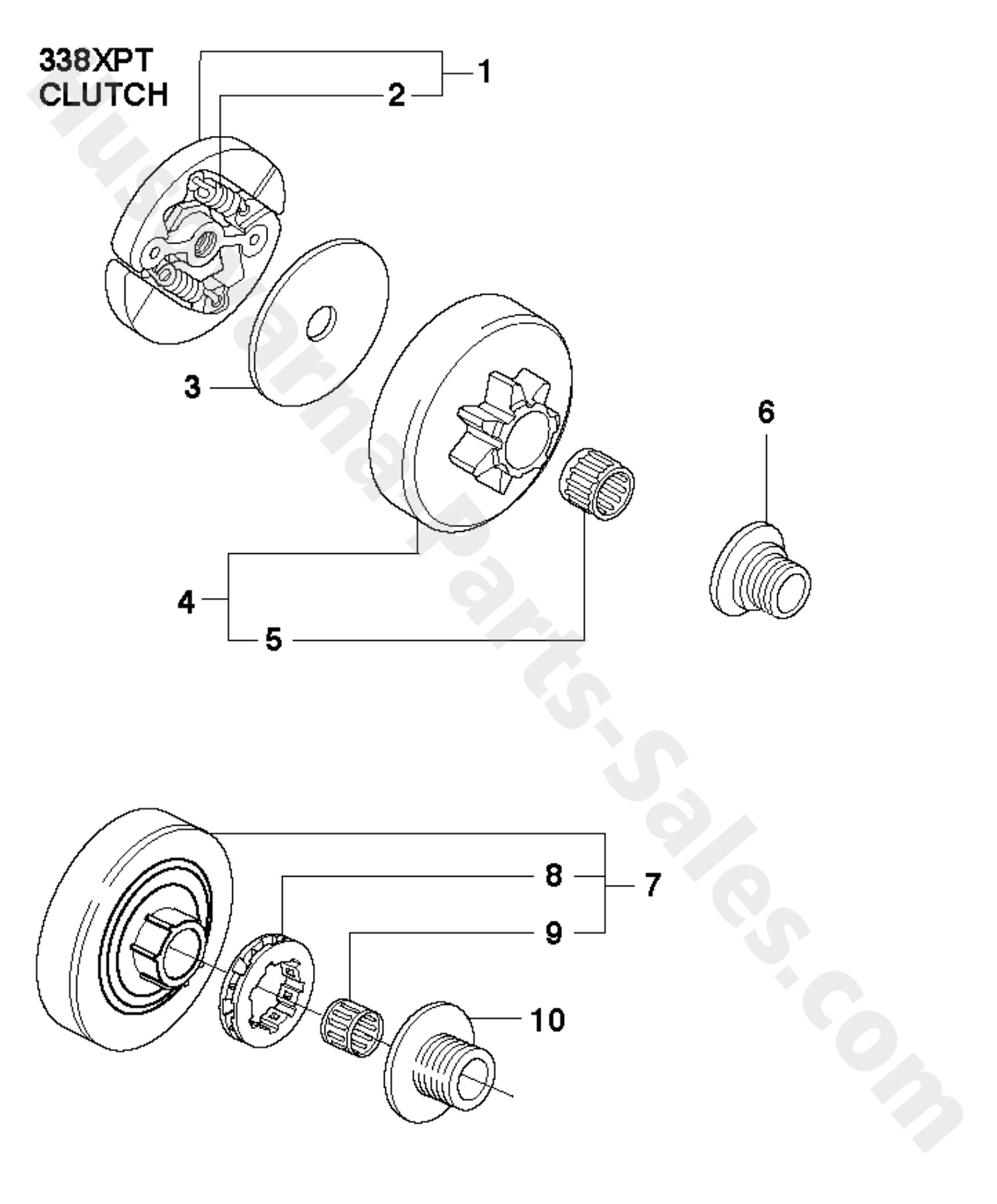 338XPT Husqvarna ProfessionalChain Saw Clutch Parts