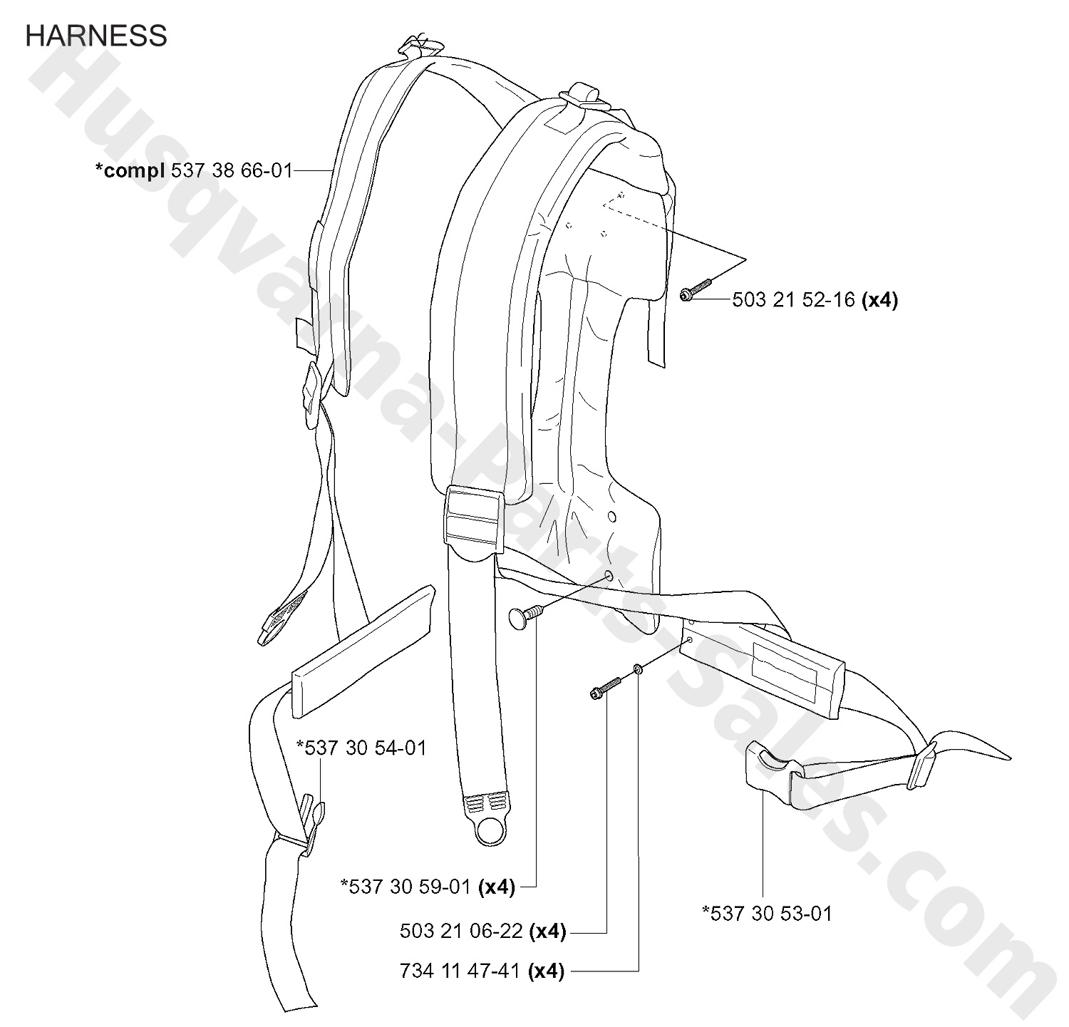 356bt Husqvarna Backpack Blower Harness Parts
