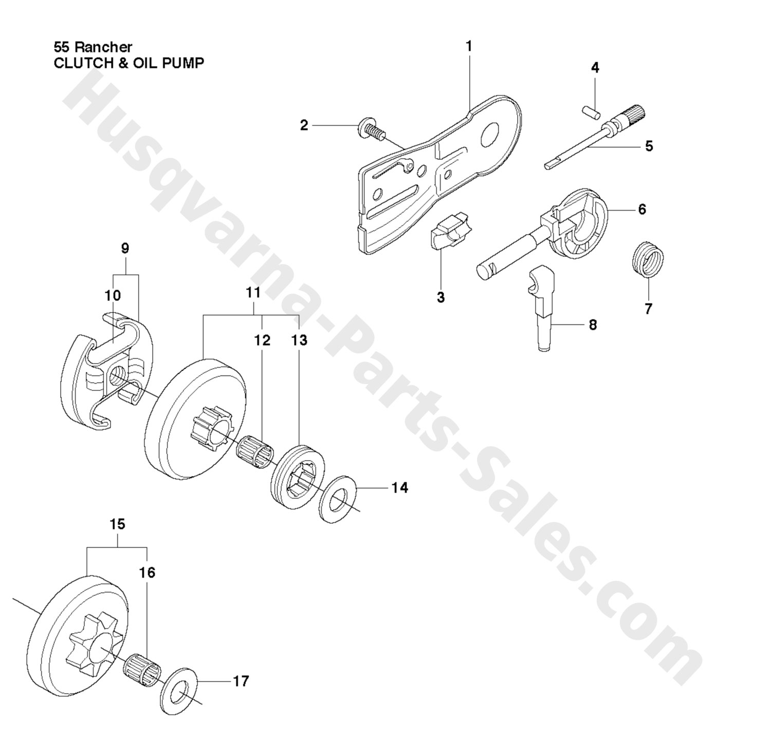 55 Rancher Husqvarna Chain Saw Clutch & Oil Pump Parts