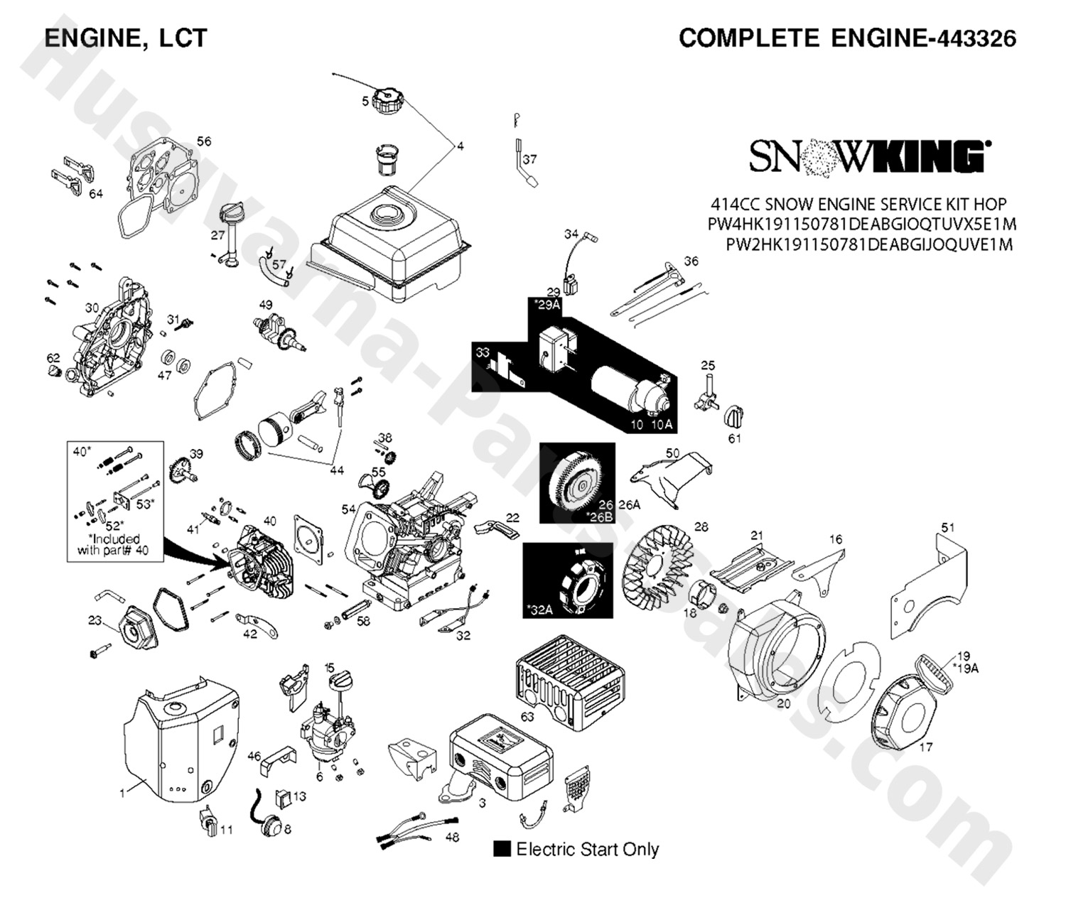 1830-EXL Husqvarna Snow Thrower Engine Parts